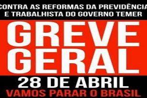 Centrais convocam greve geral contra 'reformas' da Previdência e Trabalhista