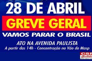 28 de Abril: Trabalhadores participam de ato na Avenida Paulista