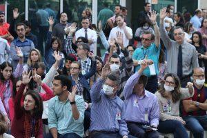 27/07/17 – Servidores fazem ato contra aumento abusivo da AMIL