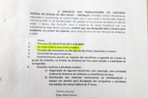 Sindicato questiona 'Secretaria única' e publicação da Diretoria do Foro