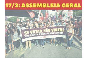 Assembleia sábado, 17, reforça mobilização contra a reforma da Previdência