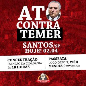 Sintrajud participa de protesto que 'receberá' Temer em Santos