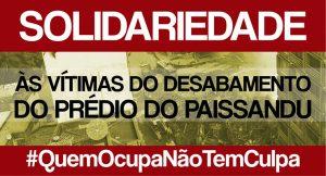 Solidariedade aos desabrigados do edifício Wilton Paes de Almeida