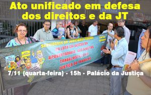 Ato na Baixada exige reajuste e denuncia ataques à JT e à Previdência