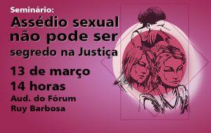 Seminário sobre assédio sexual tem inscrições abertas