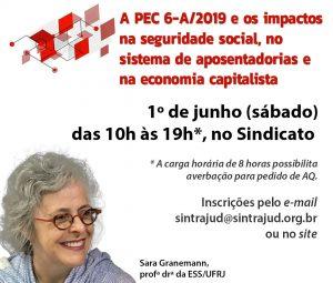 Impacto da 'reforma' da Previdência será tema de curso no Sintrajud em 1º de junho