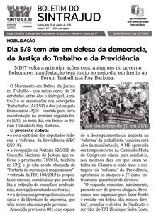 31/07/19 – Boletim do Sintrajud – Edição 217