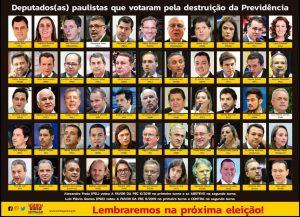 Deputados paulistas que votaram pela cassação do seu direito à aposentadoria e pensões