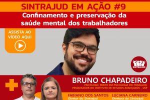 Assista aqui à transmissão ao vivo com o psicólogo Bruno Chapadeiro