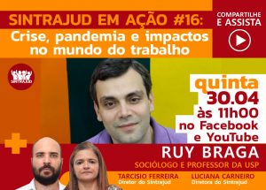 Sociólogo Ruy Braga participará da live nesta quinta-feira, 30