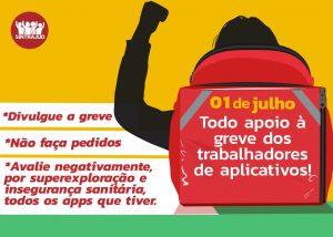 Entregadores de aplicativos realizam greve nacional nesta quarta-feira