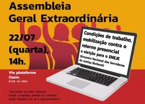 Assembleia geral online, no dia 22, discute mobilização contra a volta do trabalho presencial
