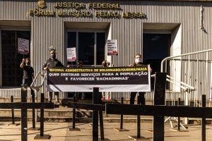 26/08/2020 – Ato 'Apagão judiciário', em frente ao Fórum Pedro Lessa e via transmissão online