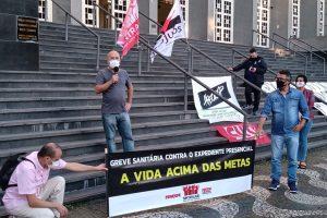 26/08/2020 – Ato unificado em Santos (PJU e TJSP) contra o expediente presencial e a reforma administrativa de Bolsonaro e Doria