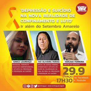 Live no dia 29 debate prevenção e posvenção ao suicídio