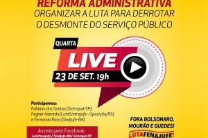 Live da semana será realizada em conjunto com o Movimento LutaFenajufe nesta quarta