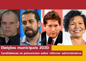 Candidaturas de Boulos, Covas, Tatto e Vera respondem ao Sintrajud sobre 'reforma' administrativa