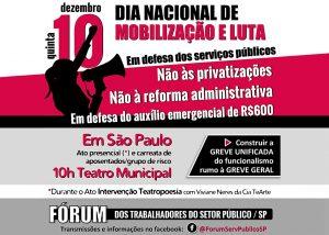 Servidores denunciam 'reforma' Administrativa e privatizações em ato nesta 5ª